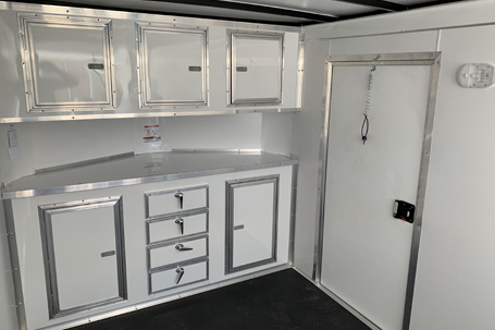 Custom-built shelving inside a trailer