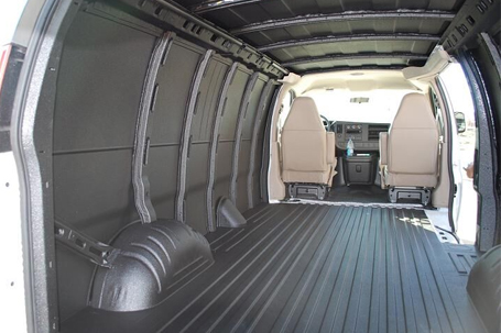 The interior of a van with spray-on flooring